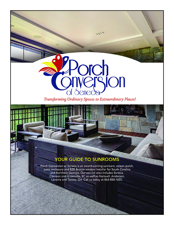 image shows cover of Consumer guide to sunrooms offered by Porch Conversions of Seneca, SC