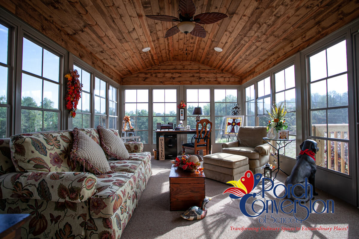 image shows sunroom from Porch Conversion of Seneca, SC. Sunrooms | Porch Conversions | EZE Breeze Windows